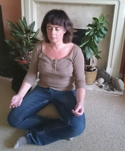 A novice meditating